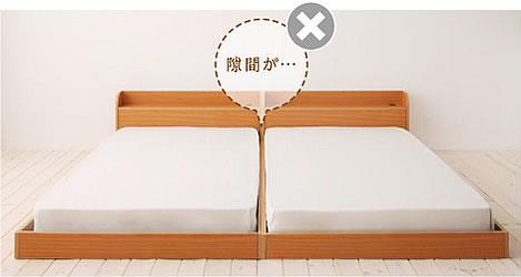 2台のベッドの間にすき間ができる