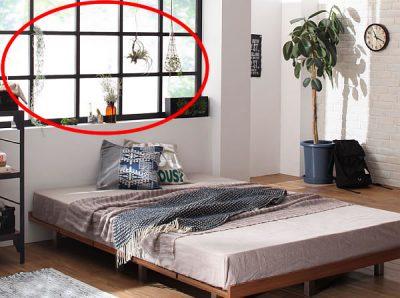 黒い窓枠と低いベッド