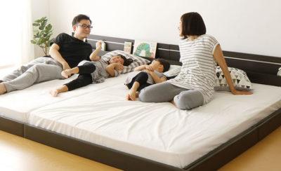 4人で寝てもゆったりの連結ベッド